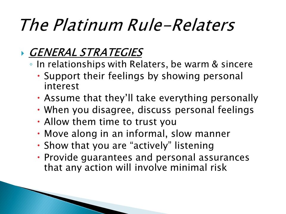 The Platinum Rule-Relaters