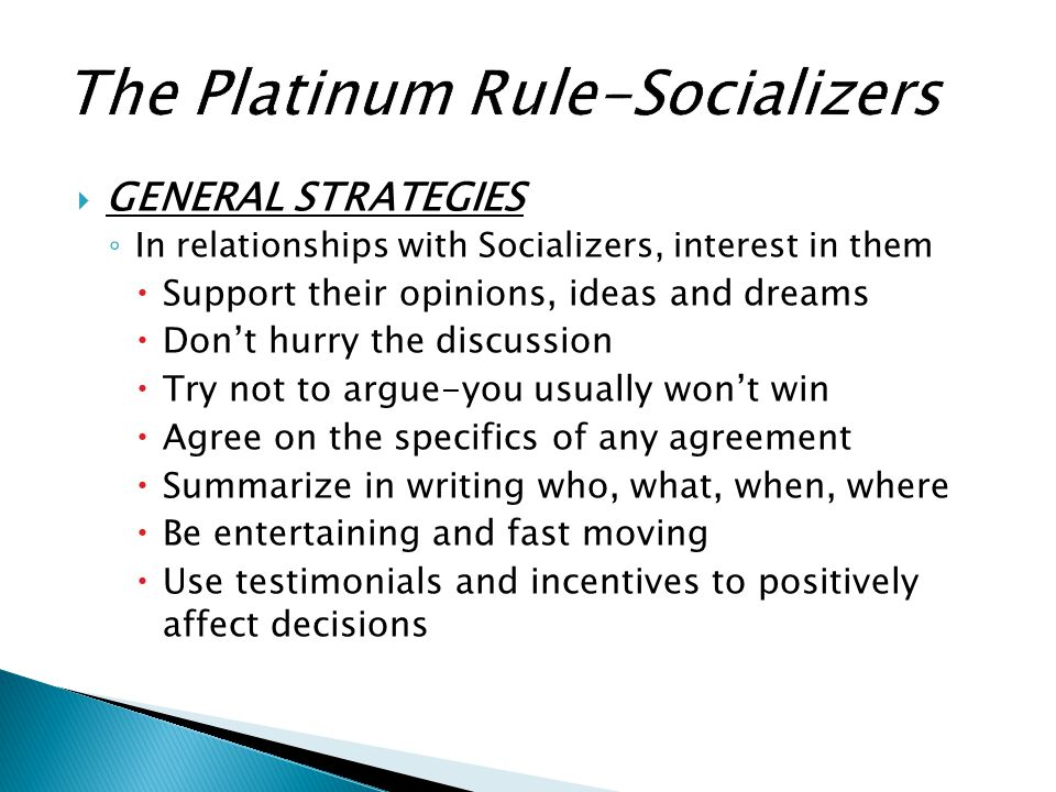 The Platinum Rule-Socializers
