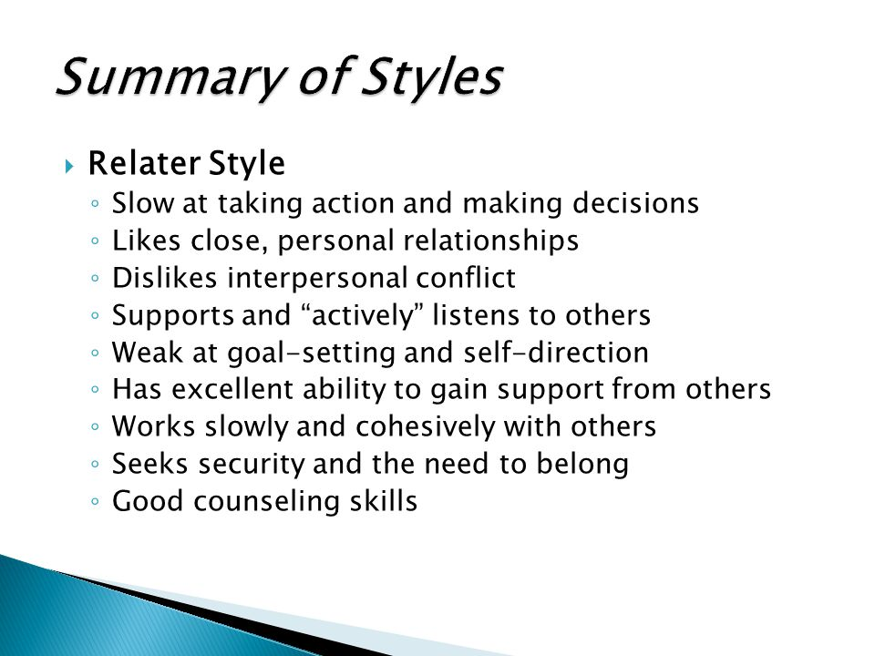 Summary of Styles Relater Style