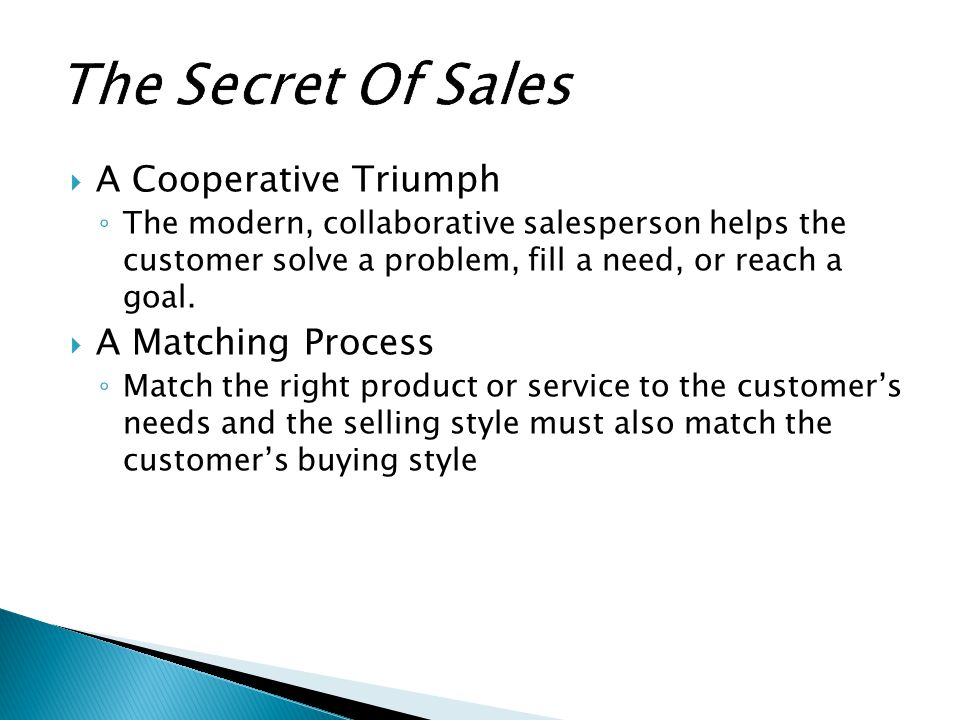 The Secret Of Sales A Cooperative Triumph A Matching Process