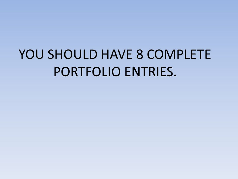 YOU SHOULD HAVE 8 COMPLETE PORTFOLIO ENTRIES.