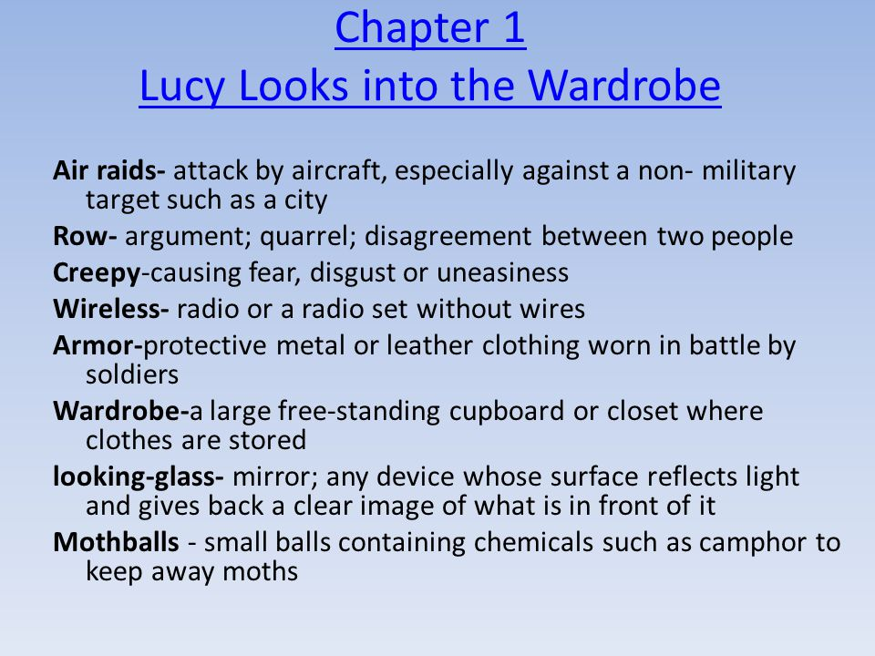 Chapter 1 Lucy Looks into the Wardrobe