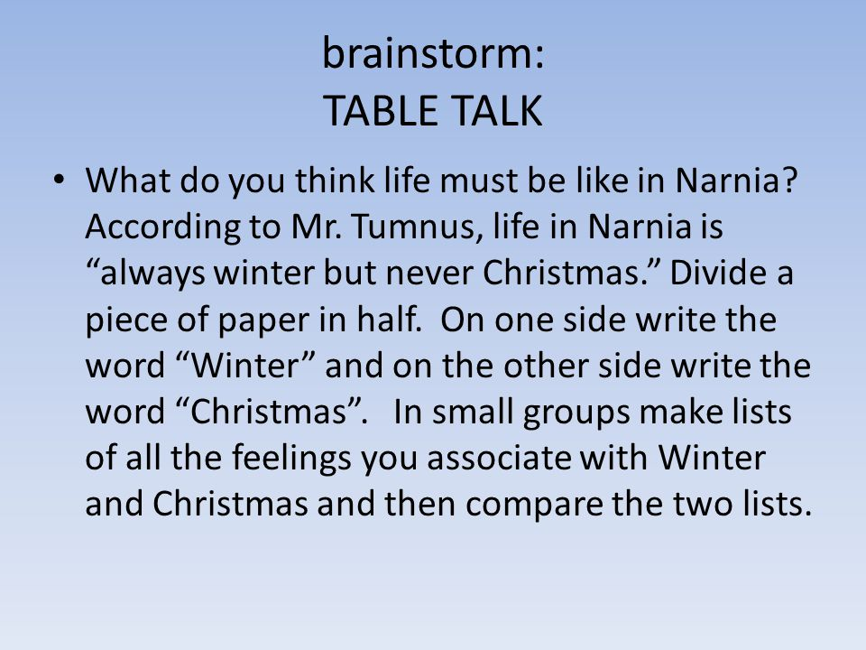 brainstorm: TABLE TALK