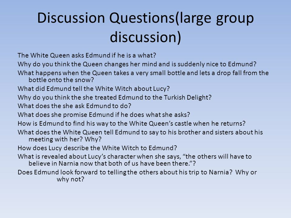 Discussion Questions(large group discussion)
