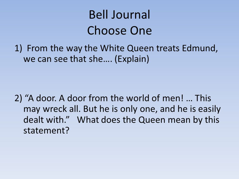 Bell Journal Choose One