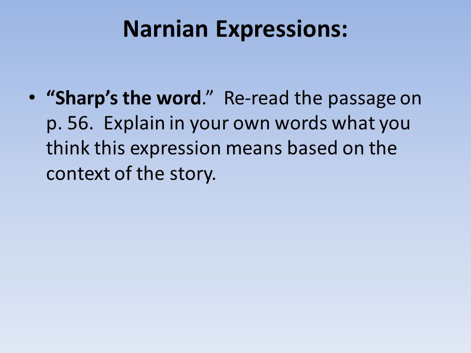 Narnian Expressions: