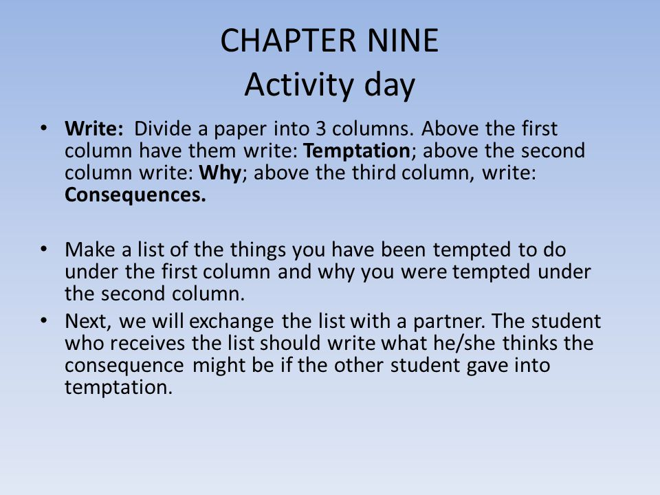 CHAPTER NINE Activity day