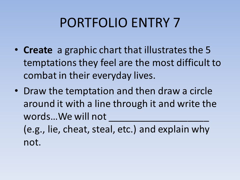 PORTFOLIO ENTRY 7 Create a graphic chart that illustrates the 5 temptations they feel are the most difficult to combat in their everyday lives.