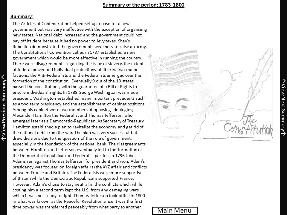 Summary of the period: 1783-1800