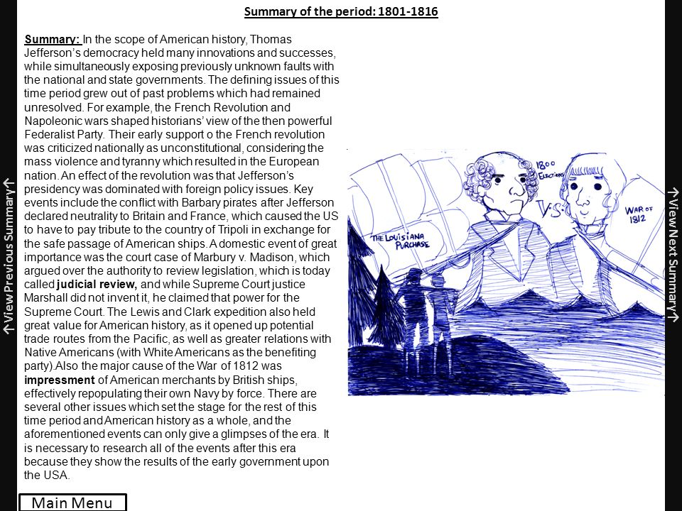 Summary of the period: 1801-1816