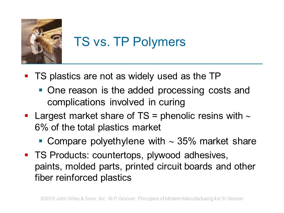 TS vs. TP Polymers TS plastics are not as widely used as the TP. One reason is the added processing costs and complications involved in curing.