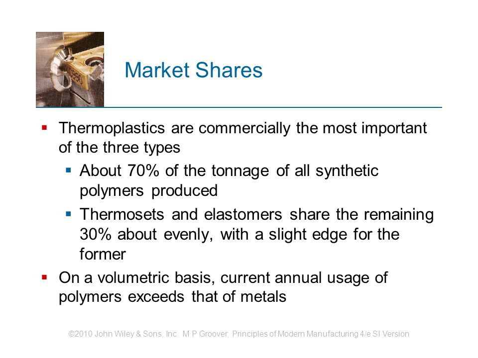 Market Shares Thermoplastics are commercially the most important of the three types. About 70% of the tonnage of all synthetic polymers produced.