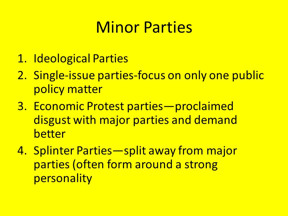 Minor Parties Ideological Parties