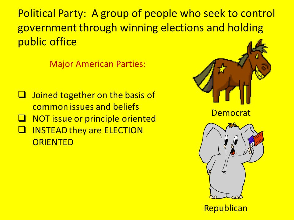 Political Party: A group of people who seek to control government through winning elections and holding public office