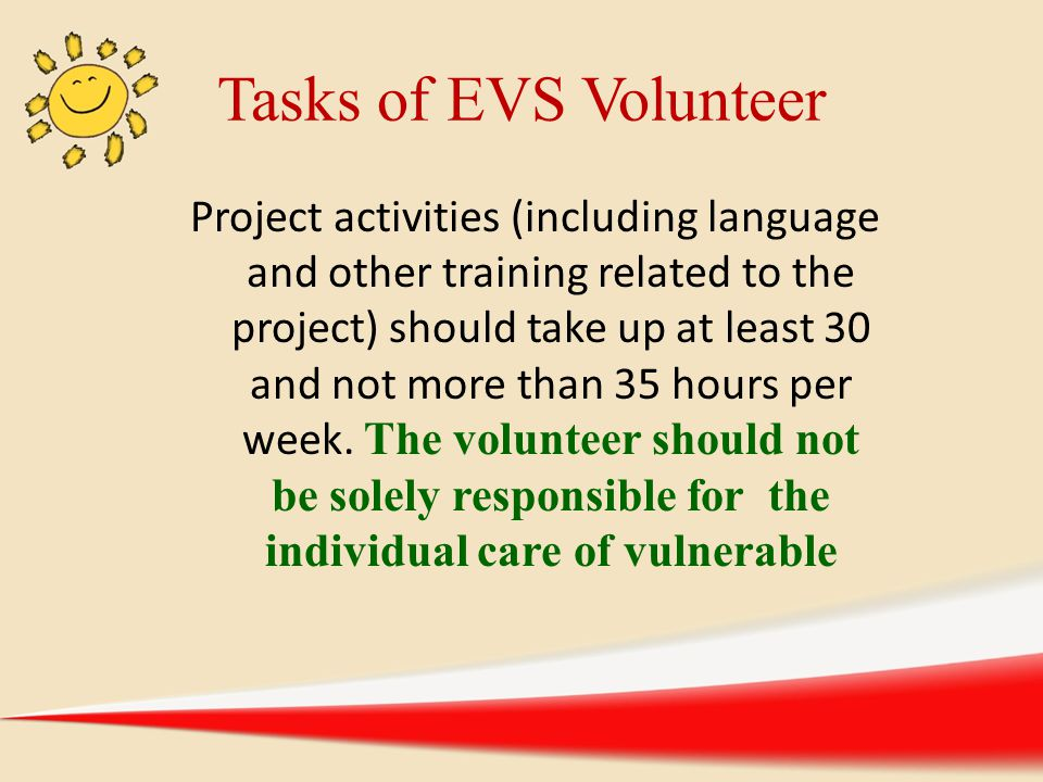 Tasks of EVS Volunteer