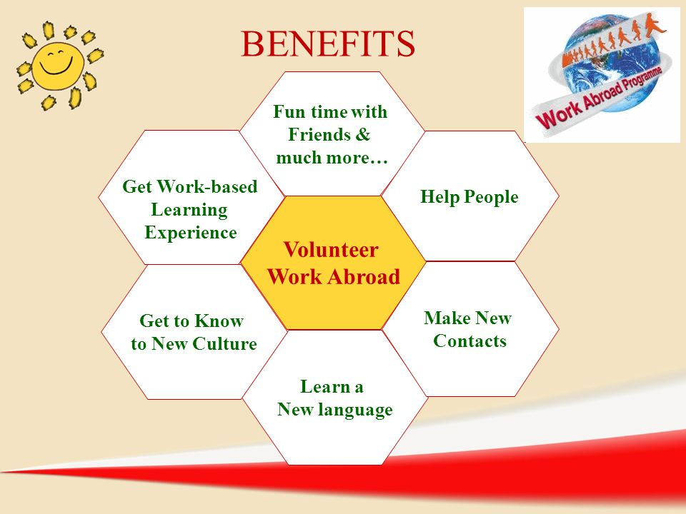 BENEFITS Volunteer Work Abroad Fun time with Friends & much more…