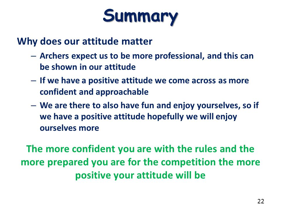 Summary Why does our attitude matter