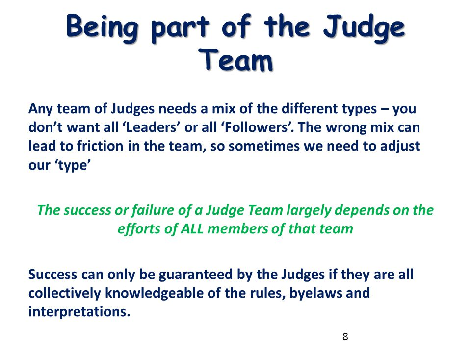 Being part of the Judge Team