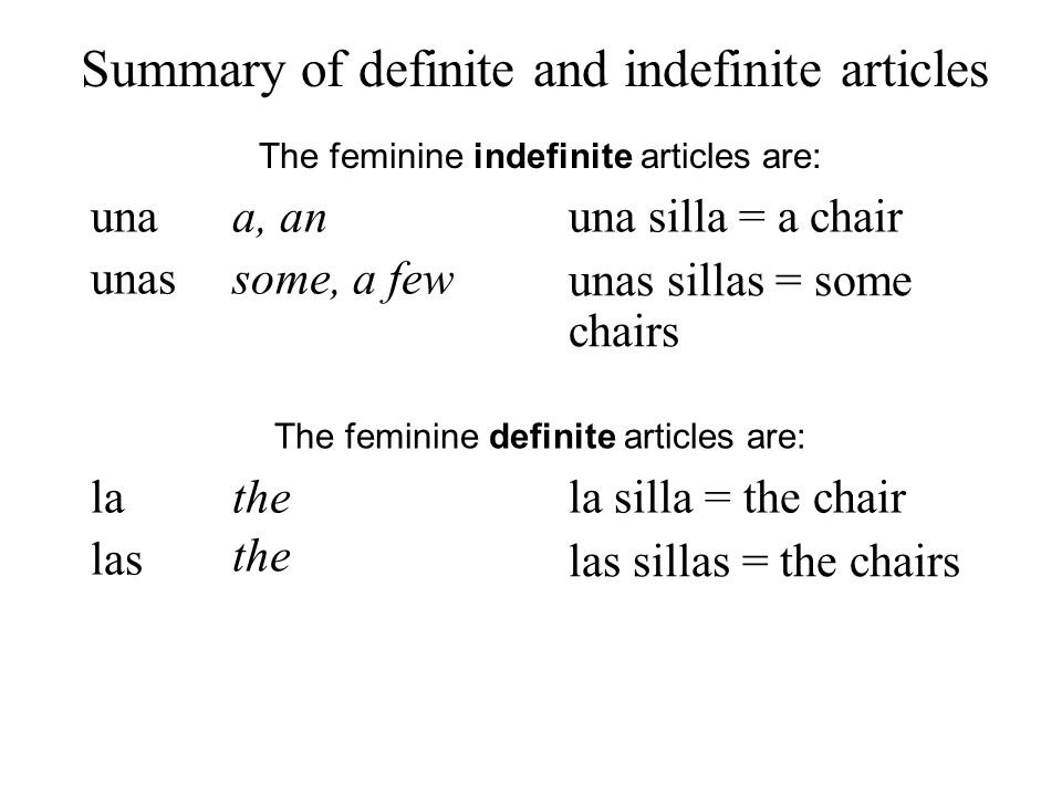 Summary of definite and indefinite articles