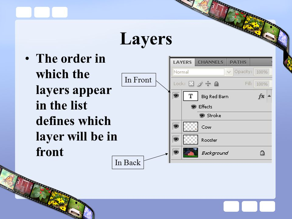 Layers The order in which the layers appear in the list defines which layer will be in front. In Front.