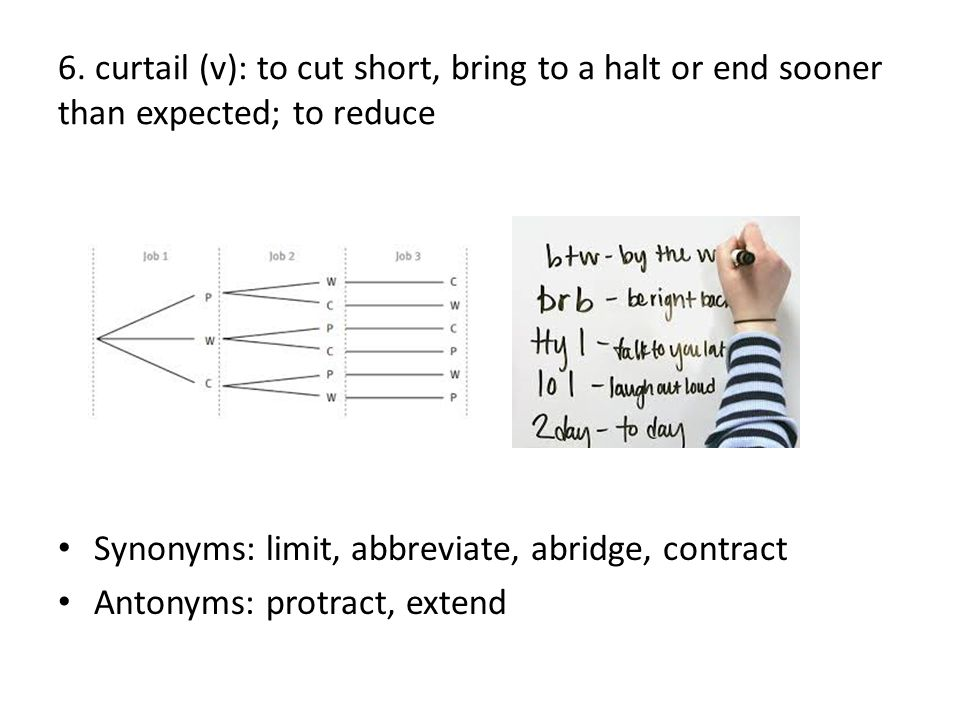 6. curtail (v): to cut short, bring to a halt or end sooner than expected; to reduce