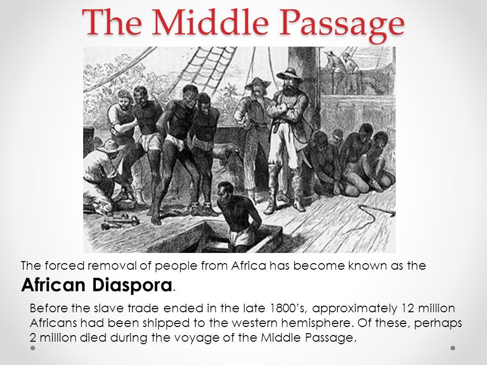 The Middle Passage The forced removal of people from Africa has become known as the African Diaspora.