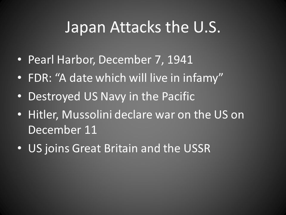Japan Attacks the U.S. Pearl Harbor, December 7, 1941
