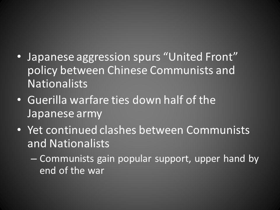 Guerilla warfare ties down half of the Japanese army