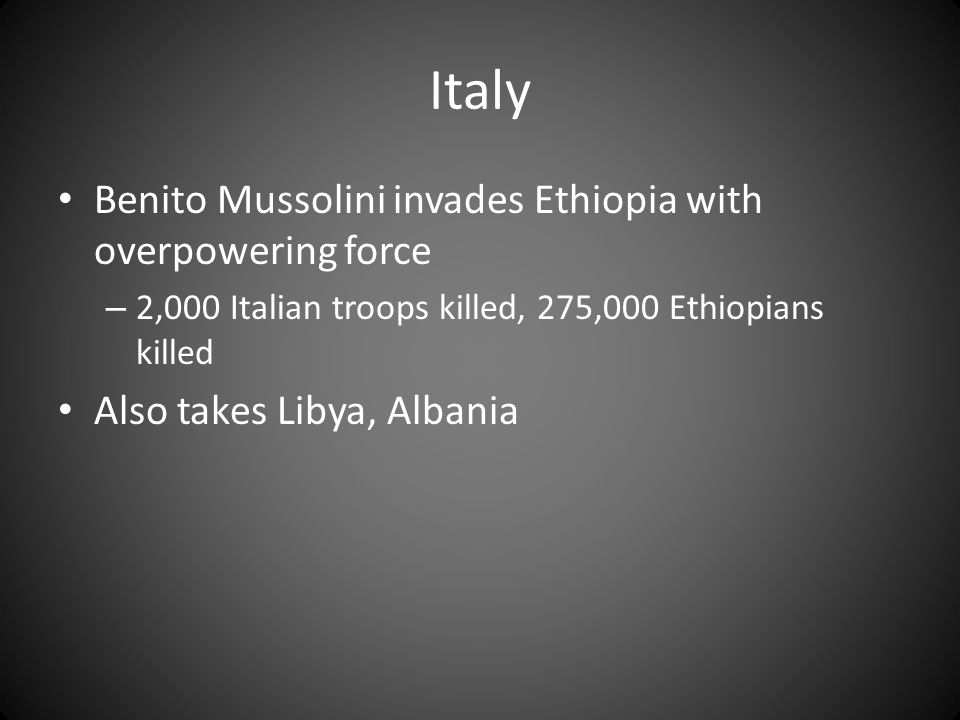 Italy Benito Mussolini invades Ethiopia with overpowering force