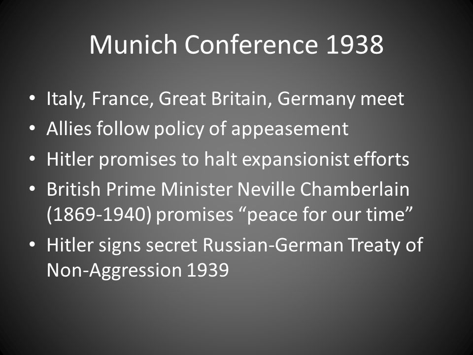 Munich Conference 1938 Italy, France, Great Britain, Germany meet