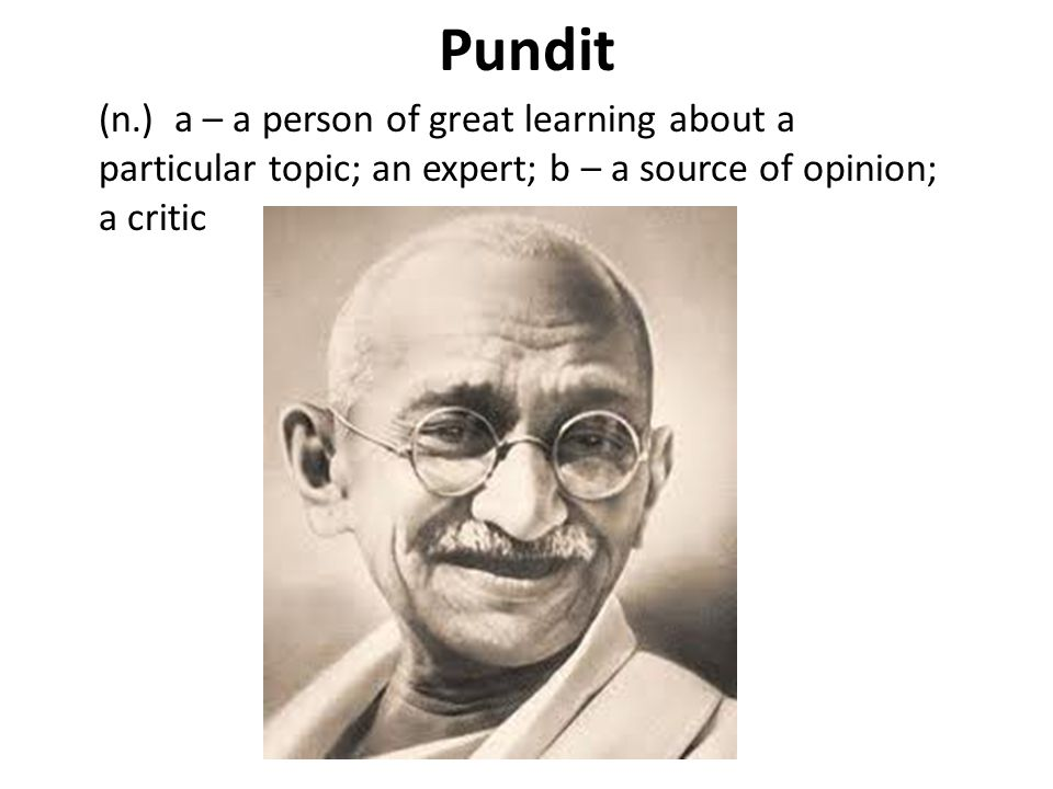 Pundit (n.) a – a person of great learning about a particular topic; an expert; b – a source of opinion; a critic.