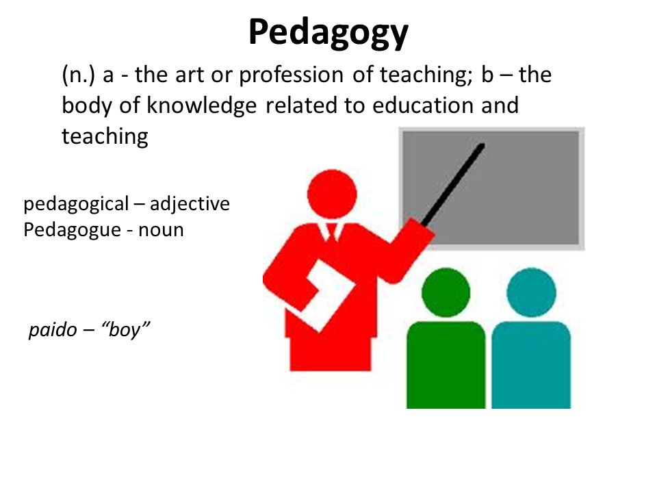 Pedagogy (n.) a - the art or profession of teaching; b – the body of knowledge related to education and teaching.