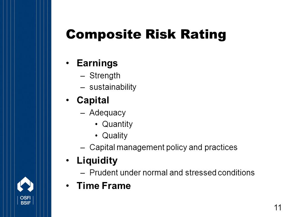 Composite Risk Rating Earnings Capital Liquidity Time Frame Strength