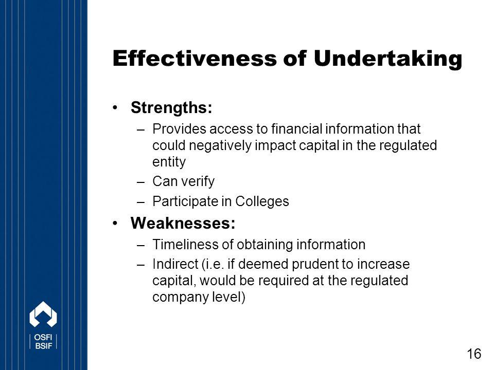 Effectiveness of Undertaking