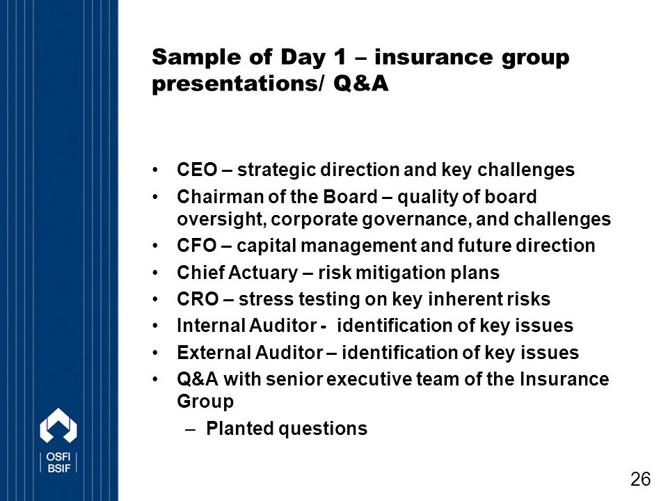 Sample of Day 1 – insurance group presentations/ Q&A