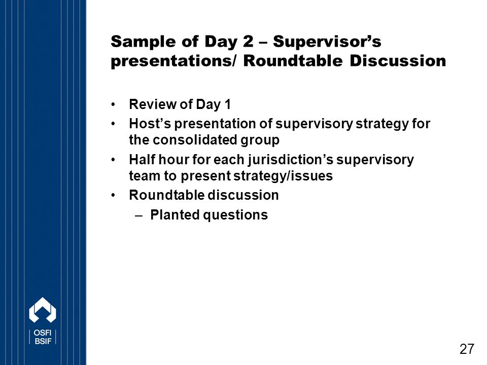 Sample of Day 2 – Supervisor's presentations/ Roundtable Discussion