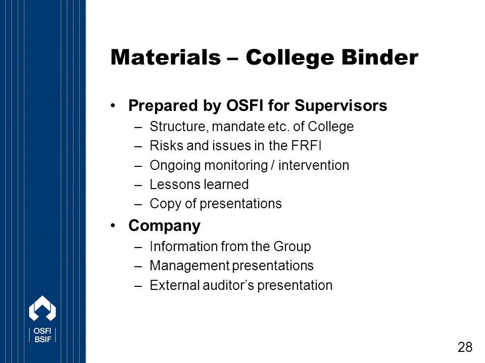 Materials – College Binder