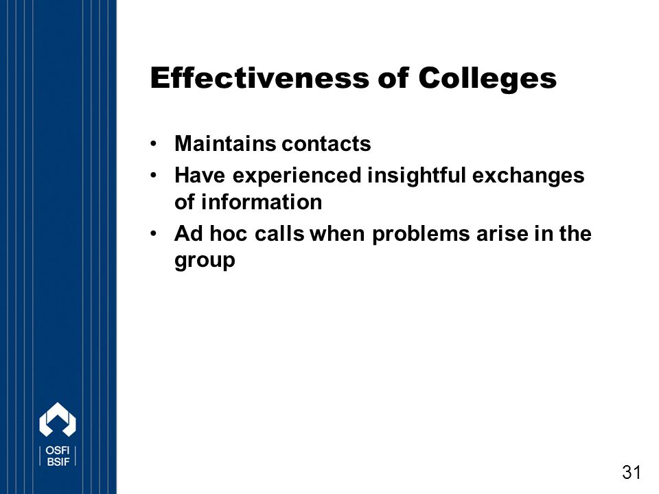 Effectiveness of Colleges