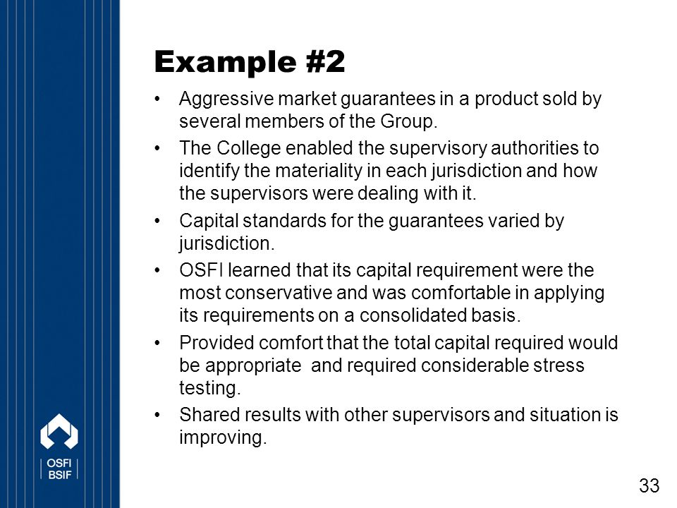 Example #2 Aggressive market guarantees in a product sold by several members of the Group.