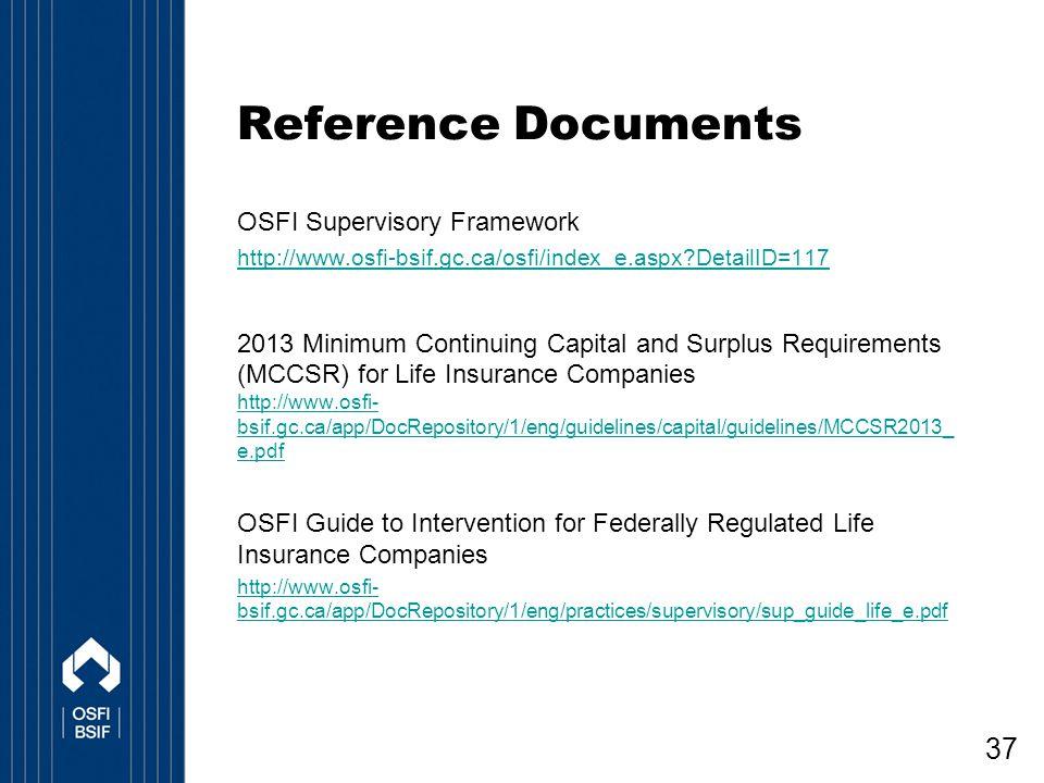 Reference Documents OSFI Supervisory Framework