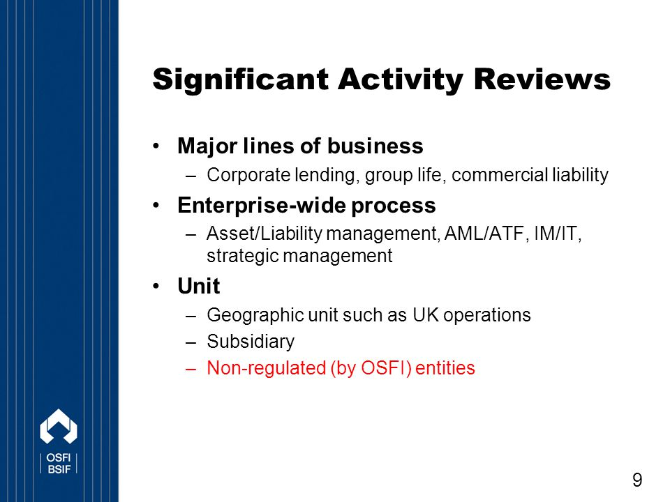 Significant Activity Reviews