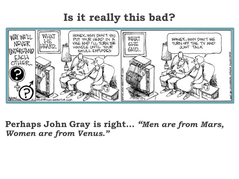 Is it really this bad Perhaps John Gray is right… Men are from Mars,