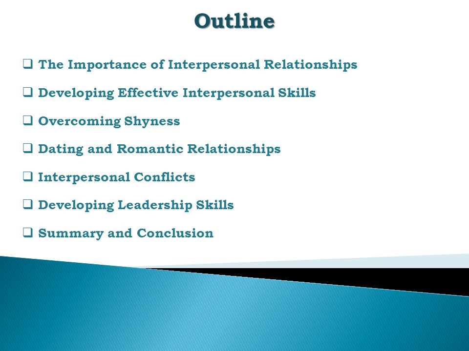 Outline The Importance of Interpersonal Relationships