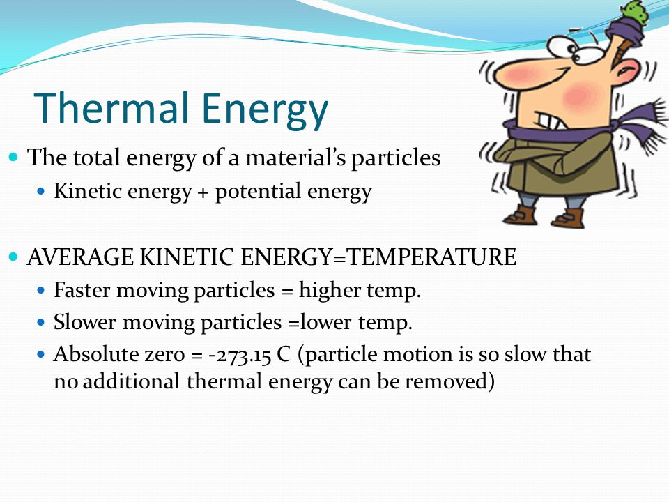 Thermal Energy The total energy of a material's particles