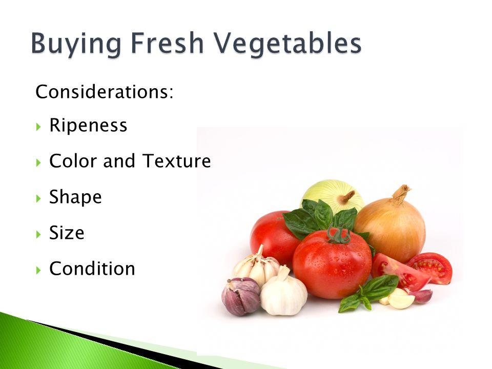Buying Fresh Vegetables