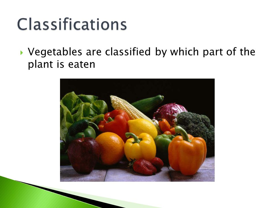 Classifications Vegetables are classified by which part of the plant is eaten