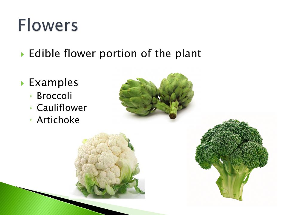 Flowers Edible flower portion of the plant Examples Broccoli
