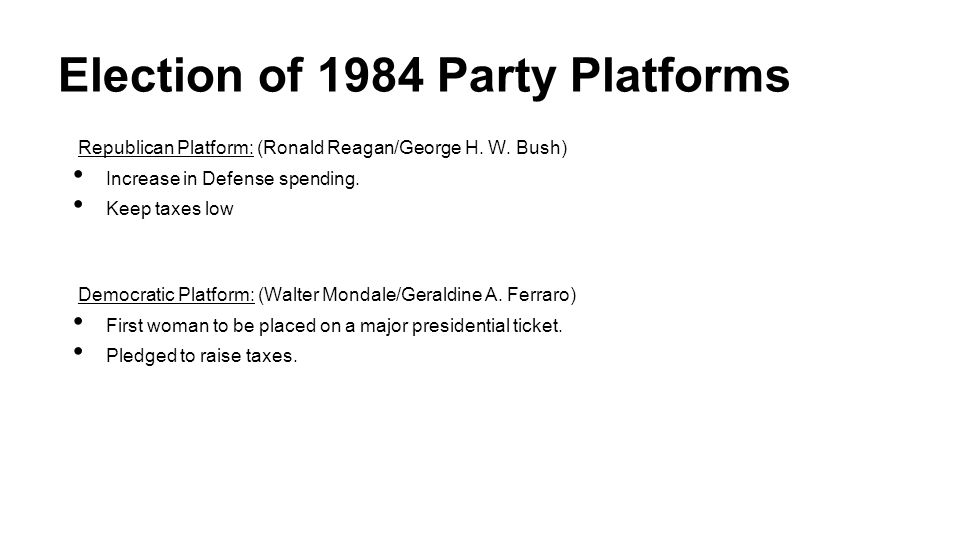 Election of 1984 Party Platforms
