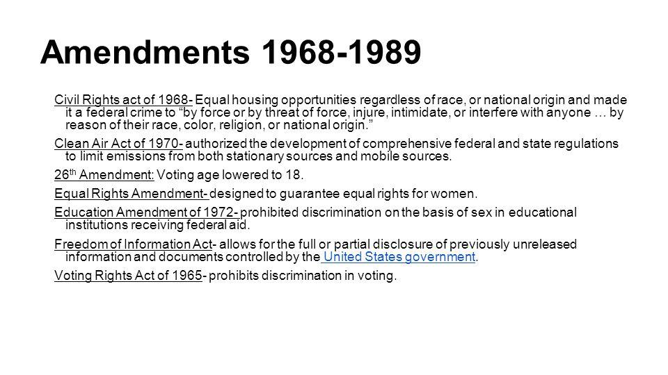 Amendments 1968-1989
