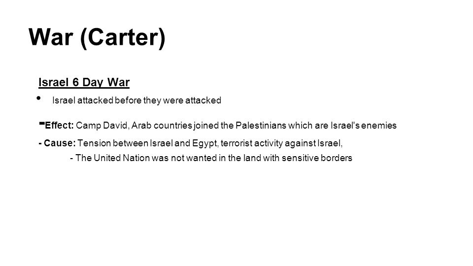 War (Carter) Israel 6 Day War. Israel attacked before they were attacked.